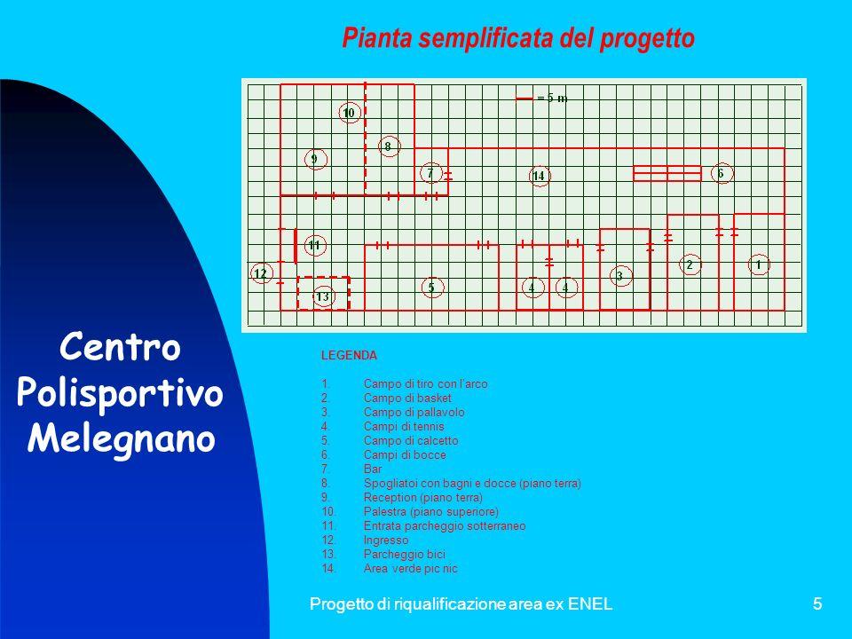 Progetto di riqualificazione area ex ENEL5 Pianta semplificata del progetto LEGENDA 1.Campo di tiro con larco 2.Campo di basket 3.Campo di pallavolo 4