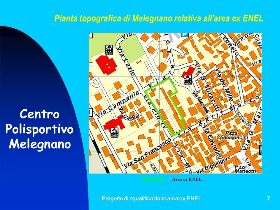 Progetto di riqualificazione area ex ENEL8 Foto satellitare di Melegnano relativa allarea ex ENEL = Area ex ENEL Centro Polisportivo Melegnano