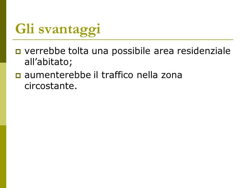 Gli svantaggi verrebbe tolta una possibile area residenziale allabitato; aumenterebbe il traffico nella zona circostante.