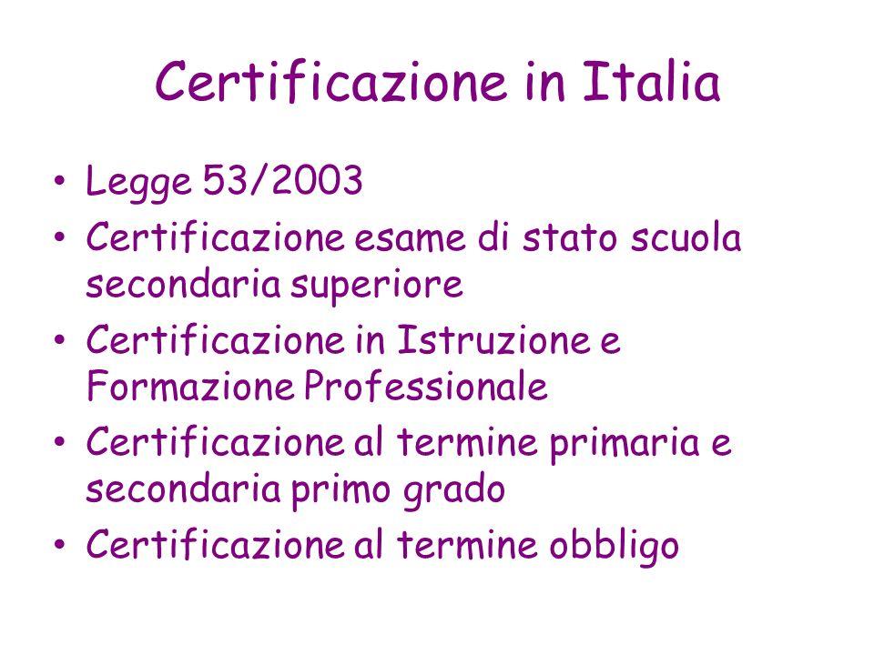 Certificazione in Italia Legge 53/2003 Certificazione esame di stato scuola secondaria superiore Certificazione in Istruzione e Formazione Professiona