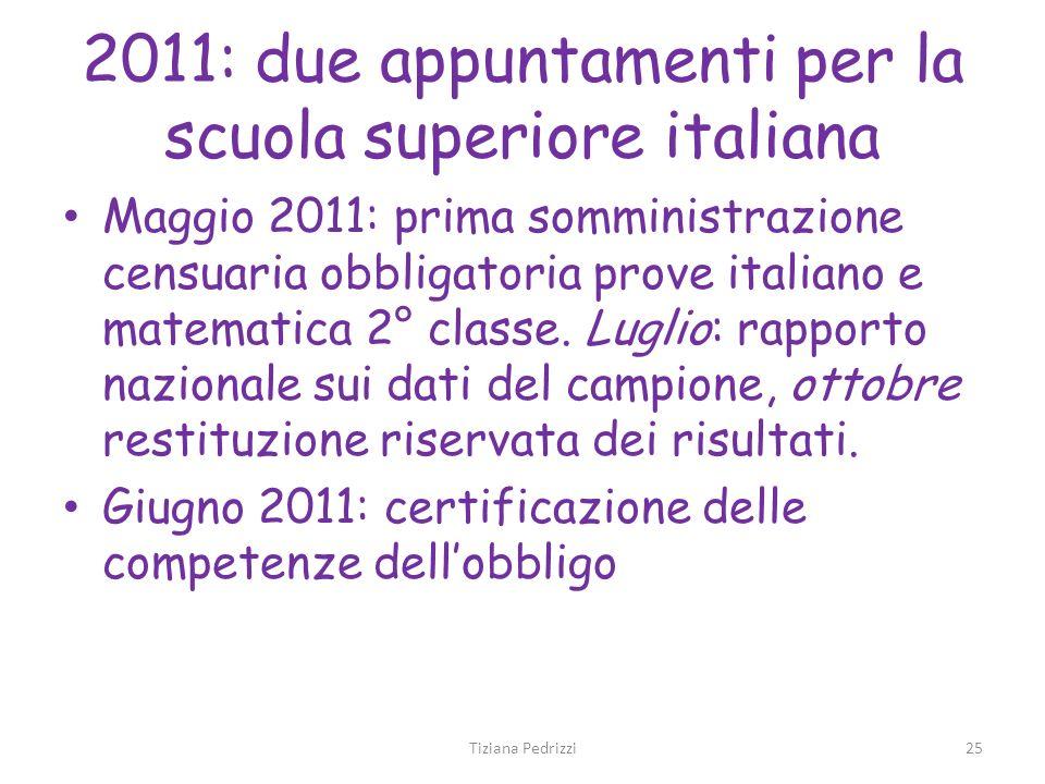 2011: due appuntamenti per la scuola superiore italiana Maggio 2011: prima somministrazione censuaria obbligatoria prove italiano e matematica 2° clas