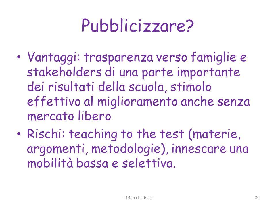 Pubblicizzare? Vantaggi: trasparenza verso famiglie e stakeholders di una parte importante dei risultati della scuola, stimolo effettivo al migliorame