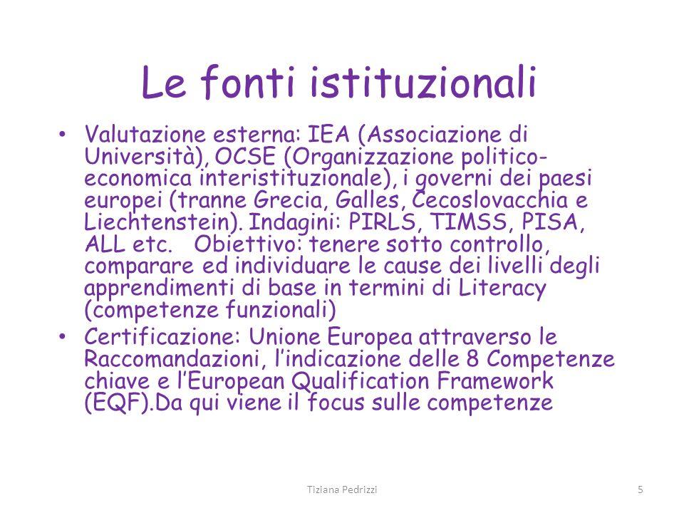 5 Le fonti istituzionali Valutazione esterna: IEA (Associazione di Università), OCSE (Organizzazione politico- economica interistituzionale), i govern
