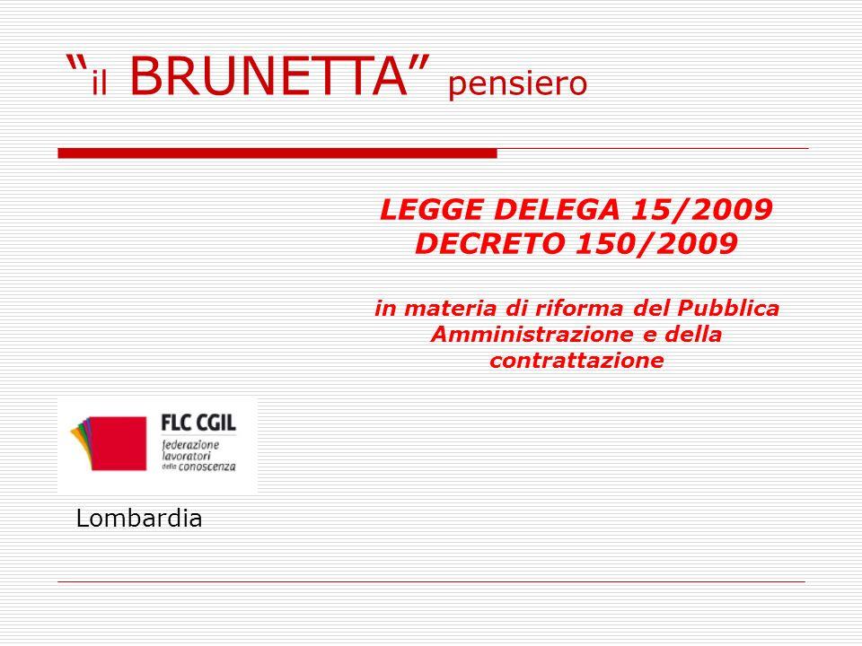 LEGGE DELEGA 15/2009 DECRETO 150/2009 in materia di riforma del Pubblica Amministrazione e della contrattazione Lombardia il BRUNETTA pensiero