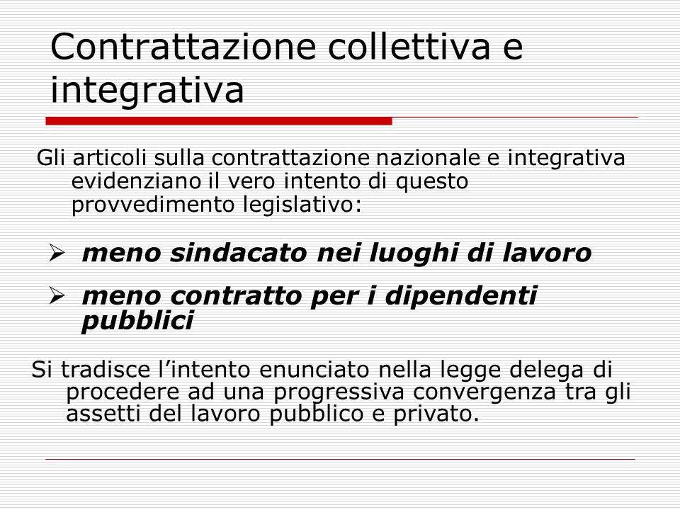 Contrattazione collettiva e integrativa Gli articoli sulla contrattazione nazionale e integrativa evidenziano il vero intento di questo provvedimento