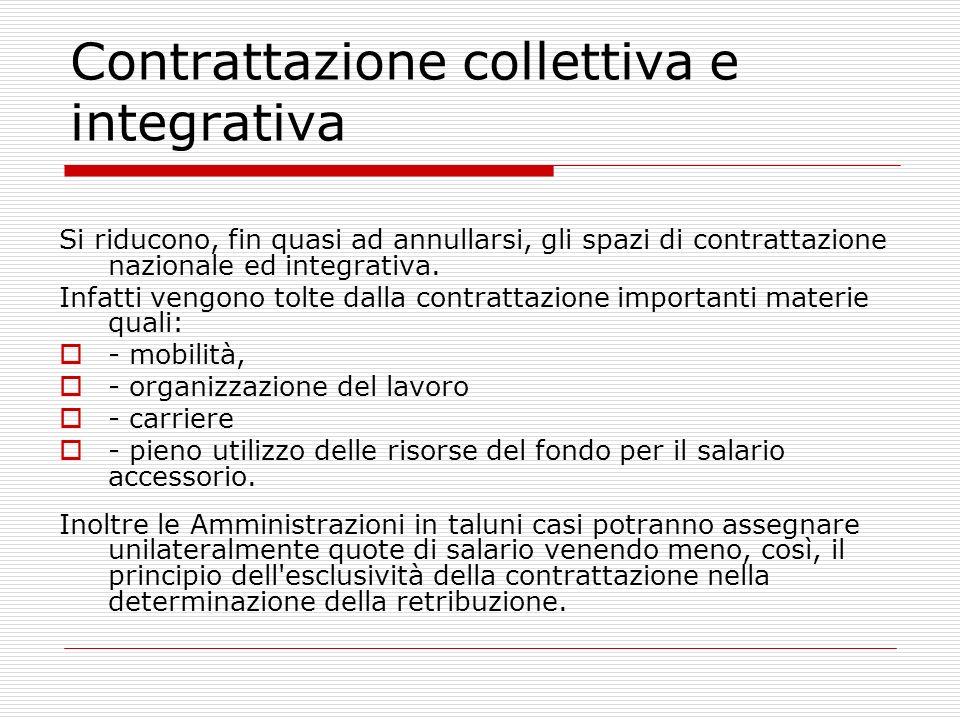 Contrattazione collettiva e integrativa Si riducono, fin quasi ad annullarsi, gli spazi di contrattazione nazionale ed integrativa. Infatti vengono to