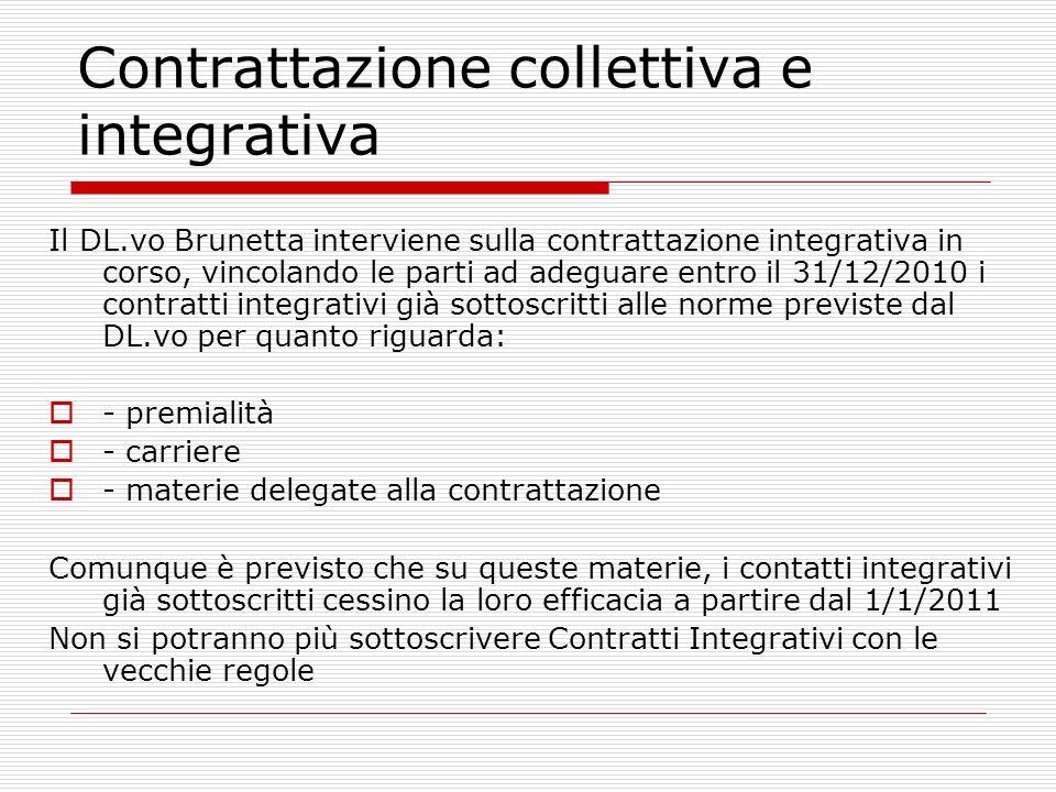 Contrattazione collettiva e integrativa Il DL.vo Brunetta interviene sulla contrattazione integrativa in corso, vincolando le parti ad adeguare entro