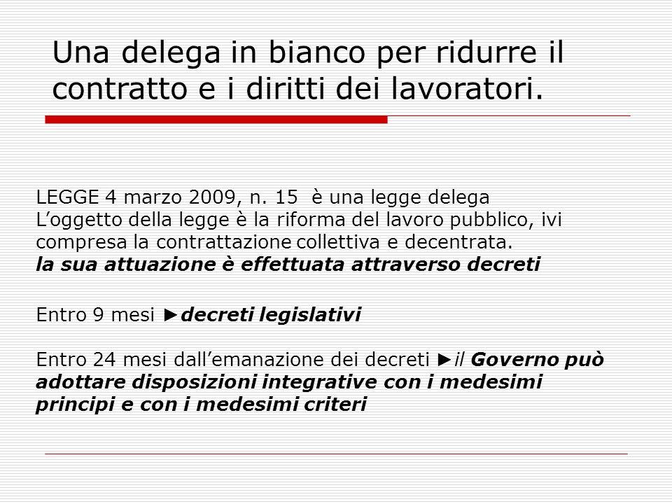 Una delega in bianco per ridurre il contratto e i diritti dei lavoratori. LEGGE 4 marzo 2009, n. 15 è una legge delega Loggetto della legge è la rifor