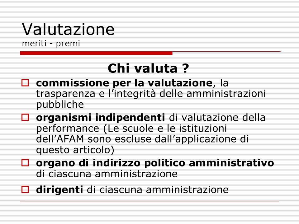 Chi valuta ? commissione per la valutazione, la trasparenza e lintegrità delle amministrazioni pubbliche organismi indipendenti di valutazione della p