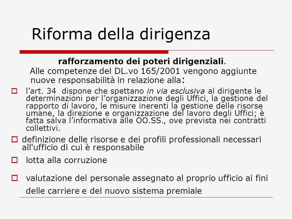 rafforzamento dei poteri dirigenziali. Alle competenze del DL.vo 165/2001 vengono aggiunte nuove responsabilità in relazione alla : Riforma della diri
