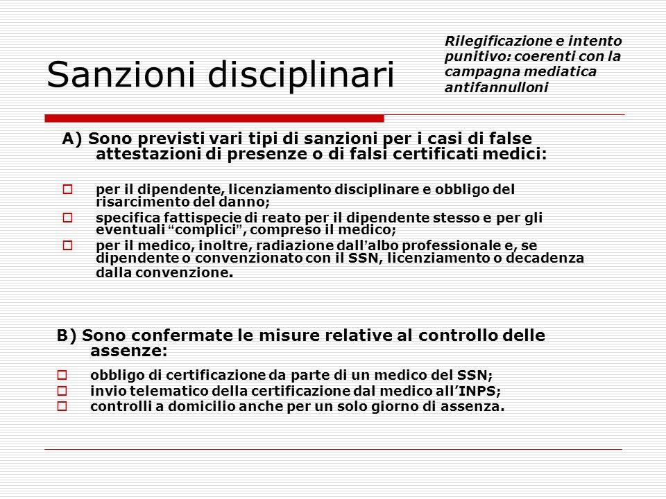 B) Sono confermate le misure relative al controllo delle assenze: obbligo di certificazione da parte di un medico del SSN; invio telematico della cert