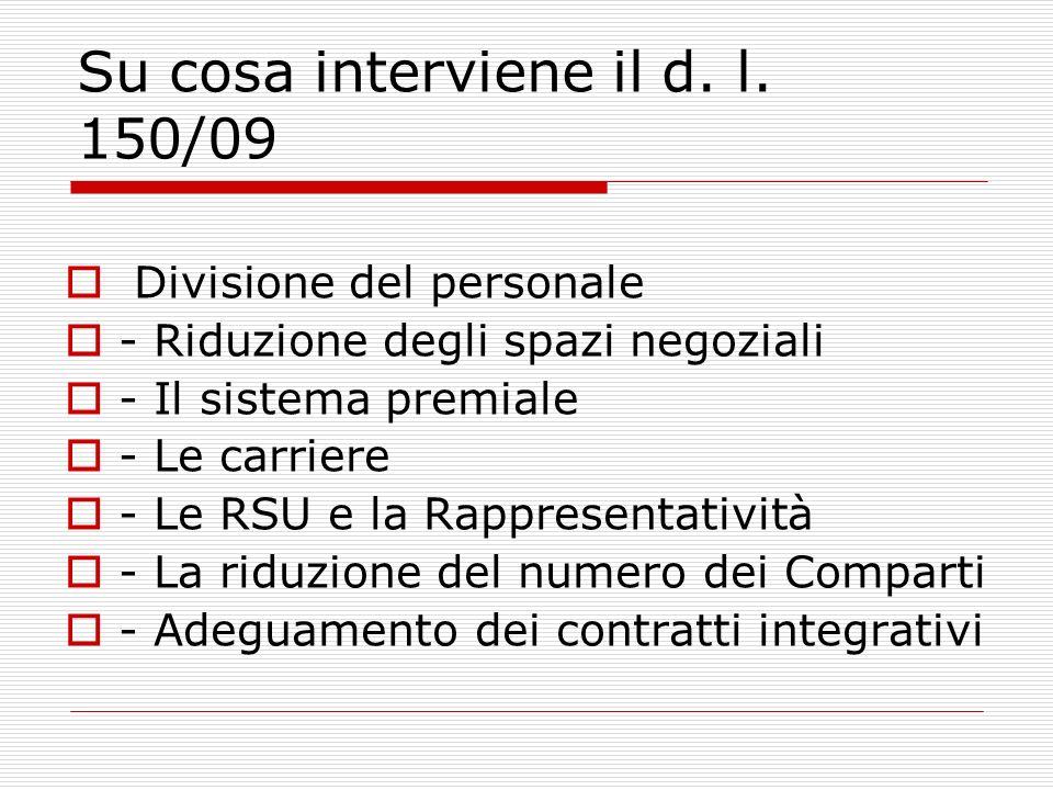 Su cosa interviene il d. l. 150/09 Divisione del personale - Riduzione degli spazi negoziali - Il sistema premiale - Le carriere - Le RSU e la Rappres