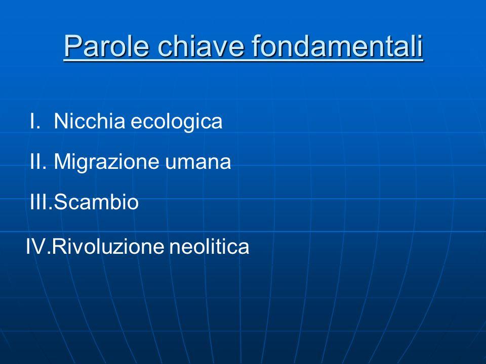 Parole chiave fondamentali I.Nicchia ecologica II.Migrazione umana III.Scambio IV.Rivoluzione neolitica