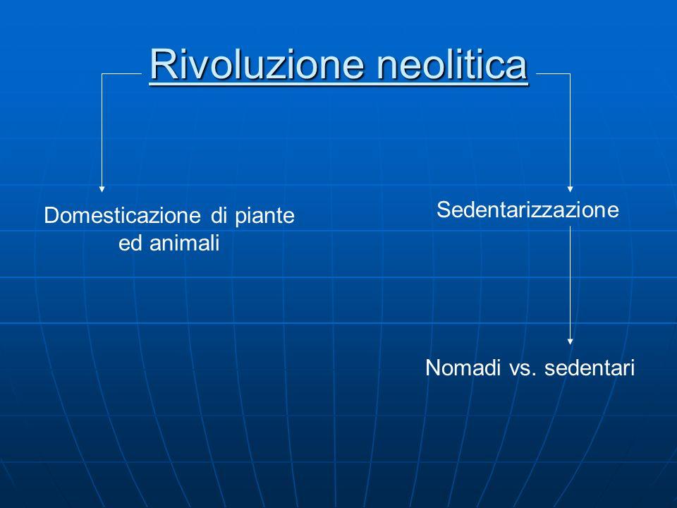 Rivoluzione neolitica Domesticazione di piante ed animali Sedentarizzazione Nomadi vs. sedentari