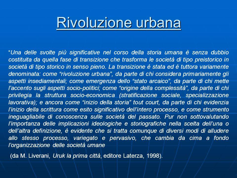 Rivoluzione urbana Una delle svolte più significative nel corso della storia umana è senza dubbio costituita da quella fase di transizione che trasfor