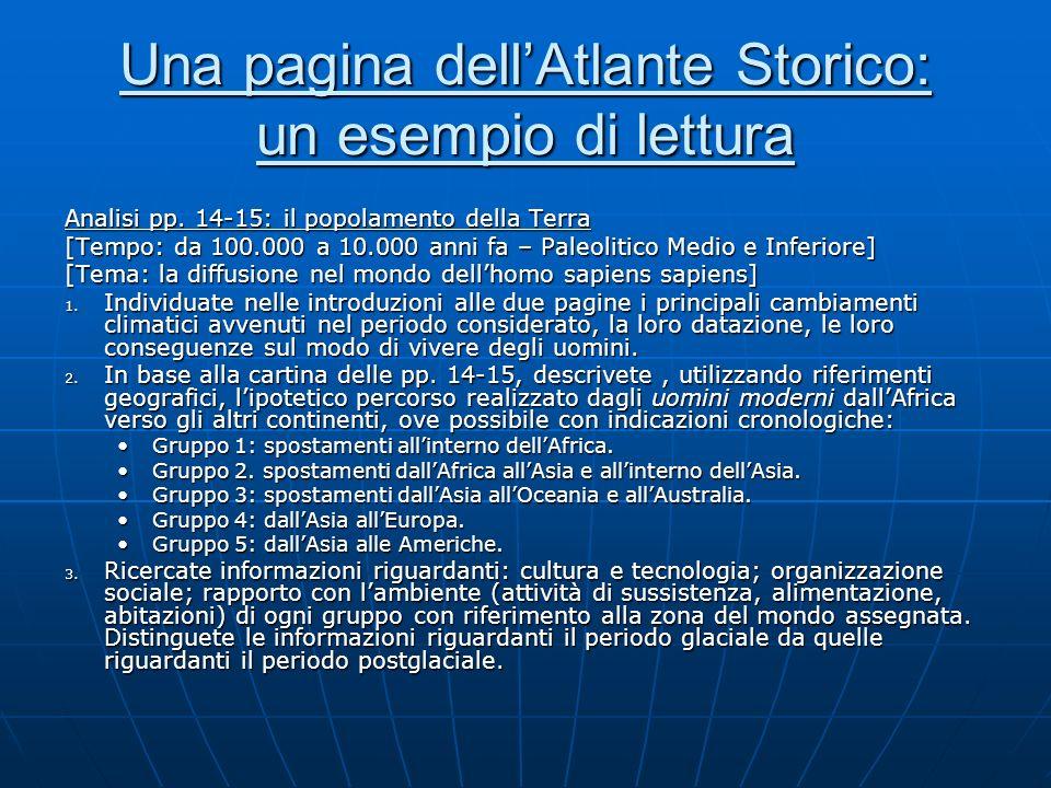 Una pagina dellAtlante Storico: un esempio di lettura Analisi pp. 14-15: il popolamento della Terra [Tempo: da 100.000 a 10.000 anni fa – Paleolitico