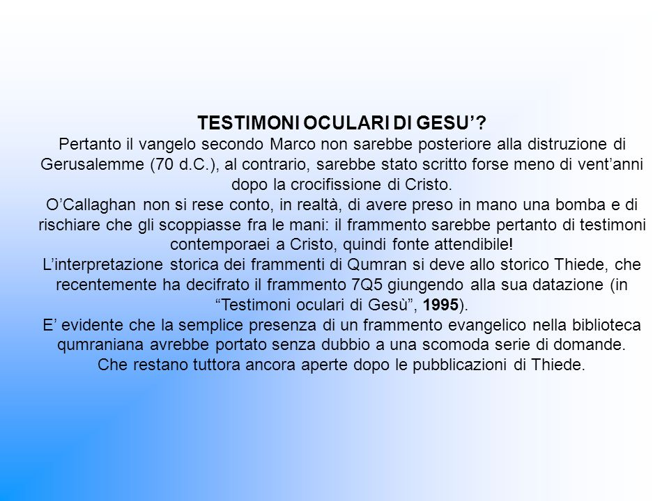 TESTIMONI OCULARI DI GESU.
