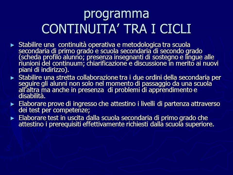 programma CONTINUITA TRA I CICLI Stabilire una continuità operativa e metodologica tra scuola secondaria di primo grado e scuola secondaria di secondo