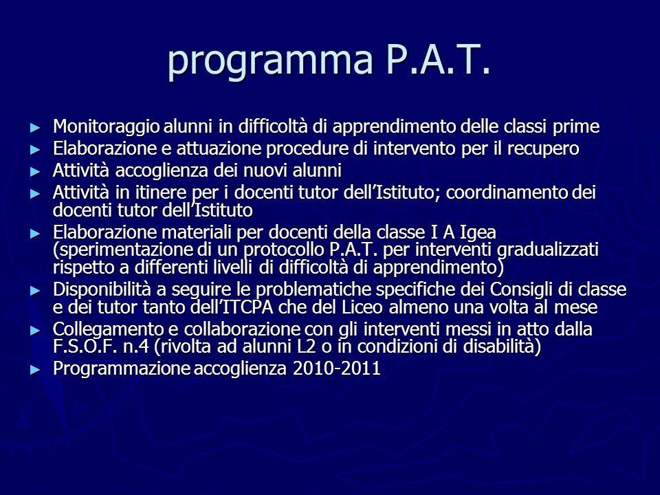 programma P.A.T. Monitoraggio alunni in difficoltà di apprendimento delle classi prime Monitoraggio alunni in difficoltà di apprendimento delle classi