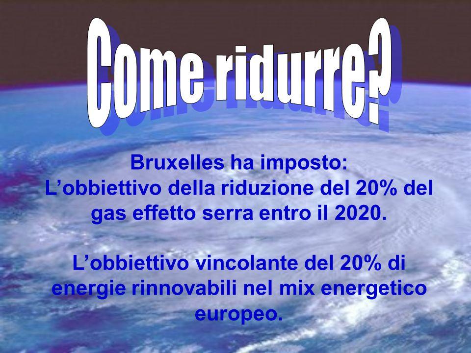Bruxelles ha imposto: Lobbiettivo della riduzione del 20% del gas effetto serra entro il 2020.