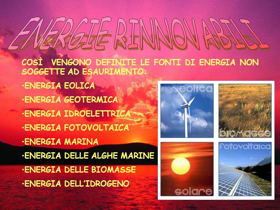 COSÌ VENGONO DEFINITE LE FONTI DI ENERGIA NON SOGGETTE AD ESAURIMENTO: ENERGIA EOLICA ENERGIA GEOTERMICA ENERGIA IDROELETTRICA ENERGIA FOTOVOLTAICA ENERGIA MARINA ENERGIA DELLE ALGHE MARINE ENERGIA DELLE BIOMASSE ENERGIA DELLIDROGENO