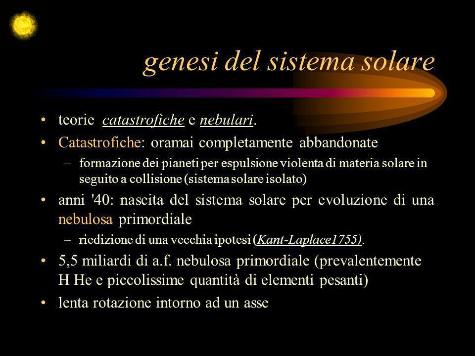 genesi del sistema solare teorie catastrofiche e nebulari. Catastrofiche: oramai completamente abbandonate –formazione dei pianeti per espulsione viol