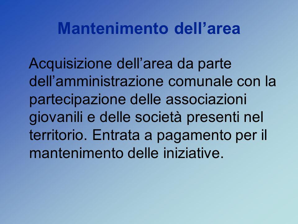 Mantenimento dellarea Acquisizione dellarea da parte dellamministrazione comunale con la partecipazione delle associazioni giovanili e delle società presenti nel territorio.