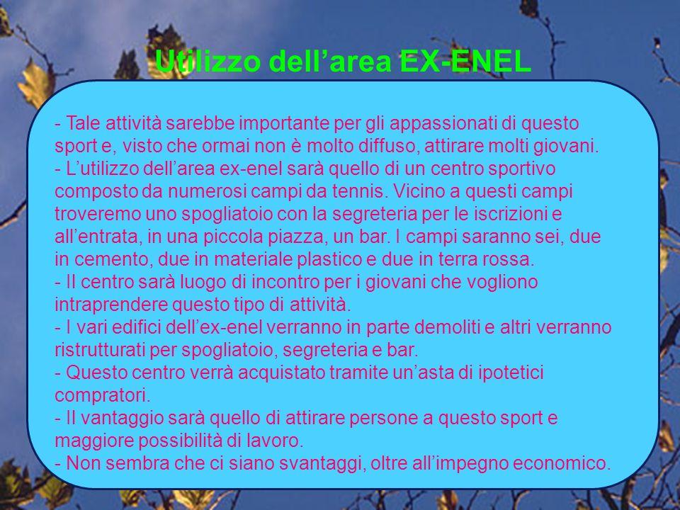 Utilizzo dellarea EX-ENEL - Tale attività sarebbe importante per gli appassionati di questo sport e, visto che ormai non è molto diffuso, attirare molti giovani.