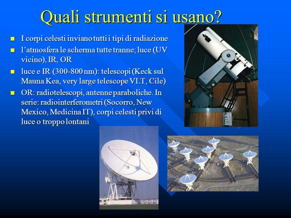 Quali strumenti si usano? I corpi celesti inviano tutti i tipi di radiazione I corpi celesti inviano tutti i tipi di radiazione latmosfera le scherma