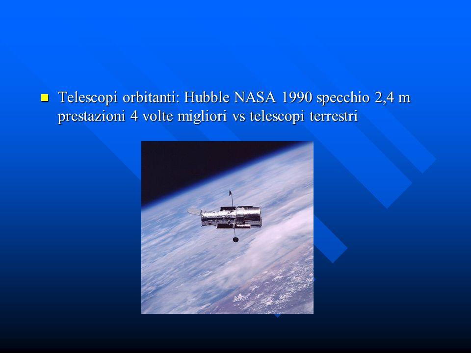 Telescopi orbitanti: Hubble NASA 1990 specchio 2,4 m prestazioni 4 volte migliori vs telescopi terrestri Telescopi orbitanti: Hubble NASA 1990 specchi