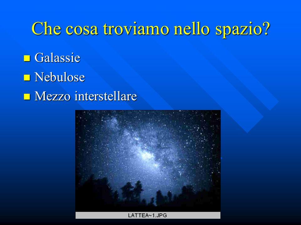 Che cosa troviamo nello spazio? Galassie Galassie Nebulose Nebulose Mezzo interstellare Mezzo interstellare