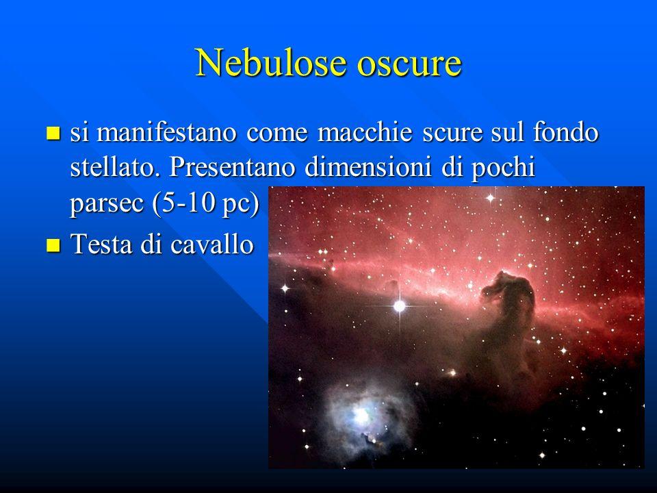 Nebulose oscure si manifestano come macchie scure sul fondo stellato. Presentano dimensioni di pochi parsec (5-10 pc) si manifestano come macchie scur