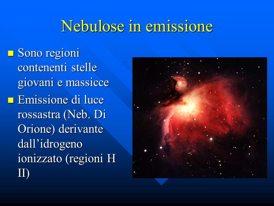 Nebulose in emissione Sono regioni contenenti stelle giovani e massicce Sono regioni contenenti stelle giovani e massicce Emissione di luce rossastra