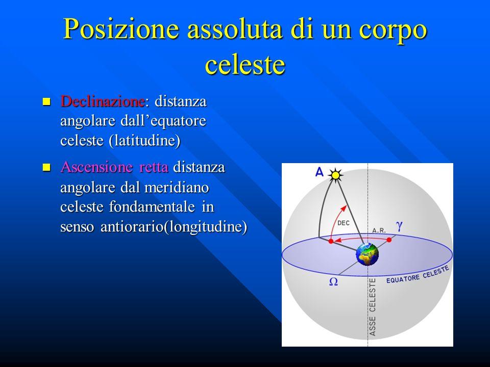 Posizione assoluta di un corpo celeste Declinazione: distanza angolare dallequatore celeste (latitudine) Declinazione: distanza angolare dallequatore