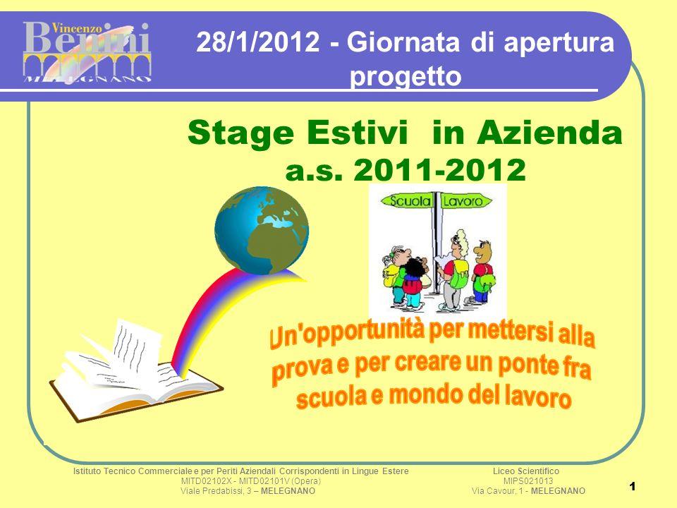 1 1 28/1/2012 - Giornata di apertura progetto Stage Estivi in Azienda a.s. 2011-2012 Istituto Tecnico Commerciale e per Periti Aziendali Corrispondent