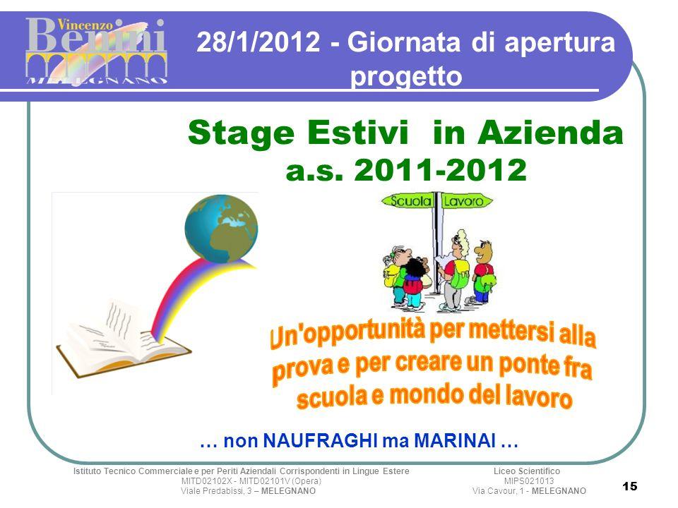 15 28/1/2012 - Giornata di apertura progetto Stage Estivi in Azienda a.s. 2011-2012 Istituto Tecnico Commerciale e per Periti Aziendali Corrispondenti