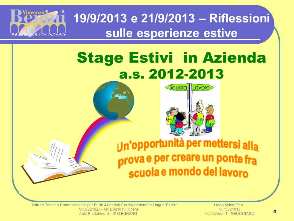 11 19/9/2013 e 21/9/2013 – Riflessioni sulle esperienze estive Stage Estivi in Azienda a.s.