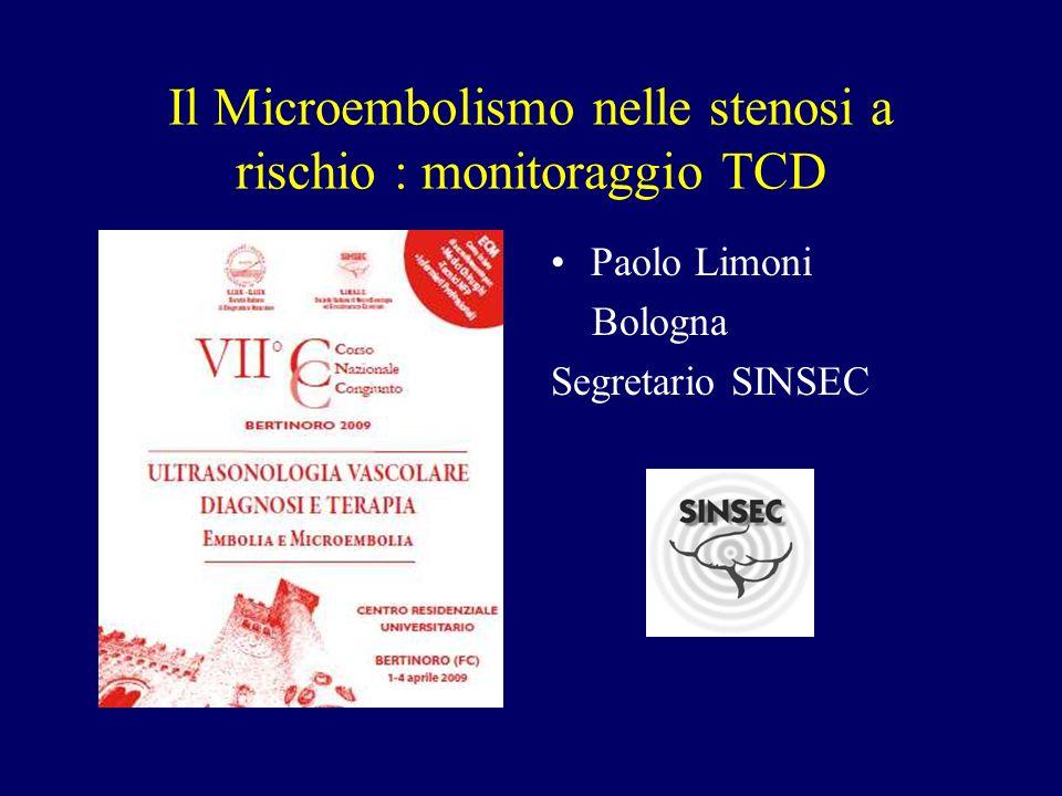 Il Microembolismo nelle stenosi a rischio : monitoraggio TCD Paolo Limoni Bologna Segretario SINSEC