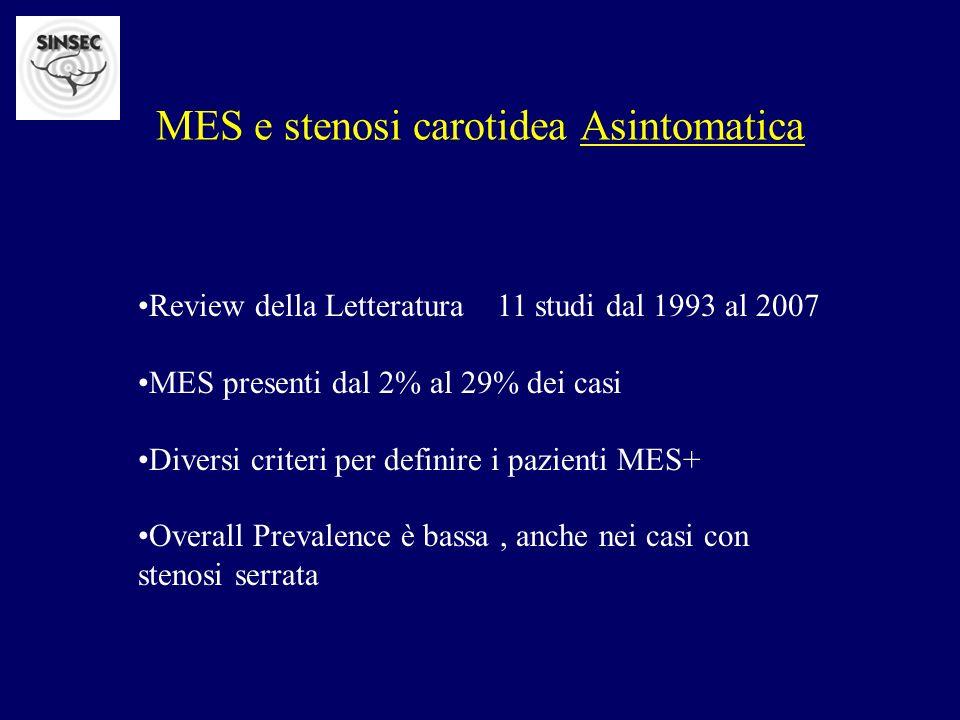MES e stenosi carotidea Asintomatica Review della Letteratura 11 studi dal 1993 al 2007 MES presenti dal 2% al 29% dei casi Diversi criteri per defini