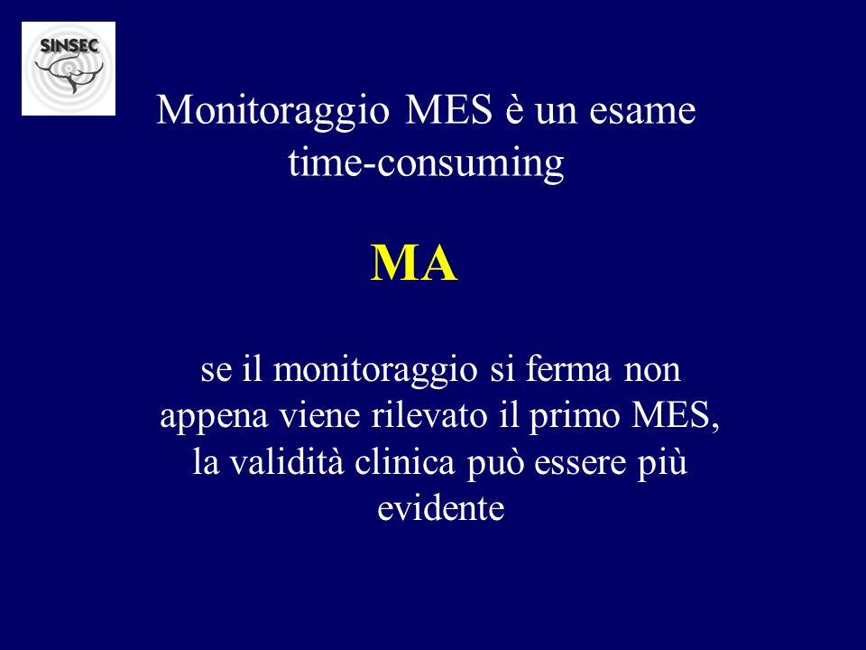 Monitoraggio MES è un esame time-consuming se il monitoraggio si ferma non appena viene rilevato il primo MES, la validità clinica può essere più evid