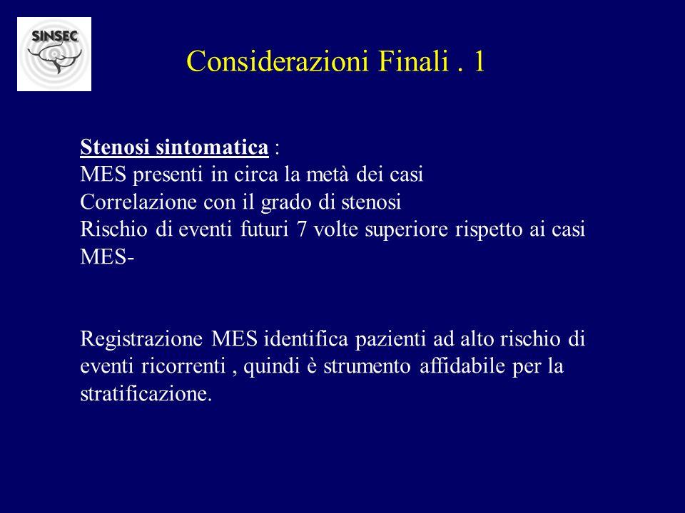 Considerazioni Finali. 1 Stenosi sintomatica : MES presenti in circa la metà dei casi Correlazione con il grado di stenosi Rischio di eventi futuri 7