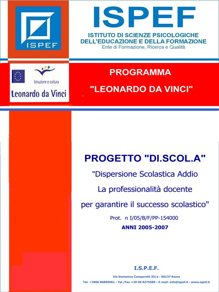 I MODELLI PROGRAMMA LEONARDO DA VINCI PROGETTO DI.SCOL.A Prog.