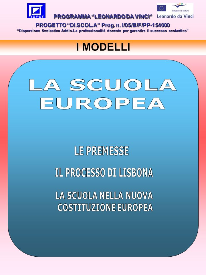 LA SCUOLA EUROPEA LE PREMESSE I MODELLI PROGRAMMA LEONARDO DA VINCI PROGETTO DI.SCOL.A Prog.