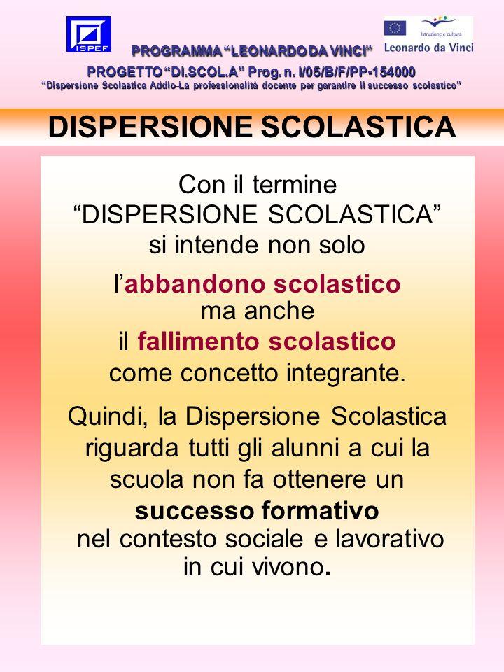 17 DISPERSIONE SCOLASTICA PROGRAMMA LEONARDO DA VINCI PROGETTO DI.SCOL.A Prog. n. I/05/B/F/PP-154000 Dispersione Scolastica Addio-La professionalità d