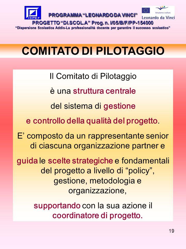 19 COMITATO DI PILOTAGGIO PROGRAMMA LEONARDO DA VINCI PROGETTO DI.SCOL.A Prog. n. I/05/B/F/PP-154000 Dispersione Scolastica Addio-La professionalità d