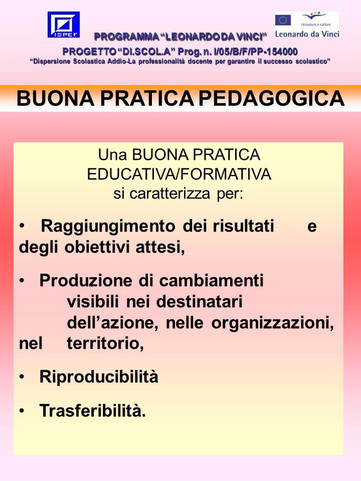 20 BUONA PRATICA PEDAGOGICA PROGRAMMA LEONARDO DA VINCI PROGETTO DI.SCOL.A Prog. n. I/05/B/F/PP-154000 Dispersione Scolastica Addio-La professionalità