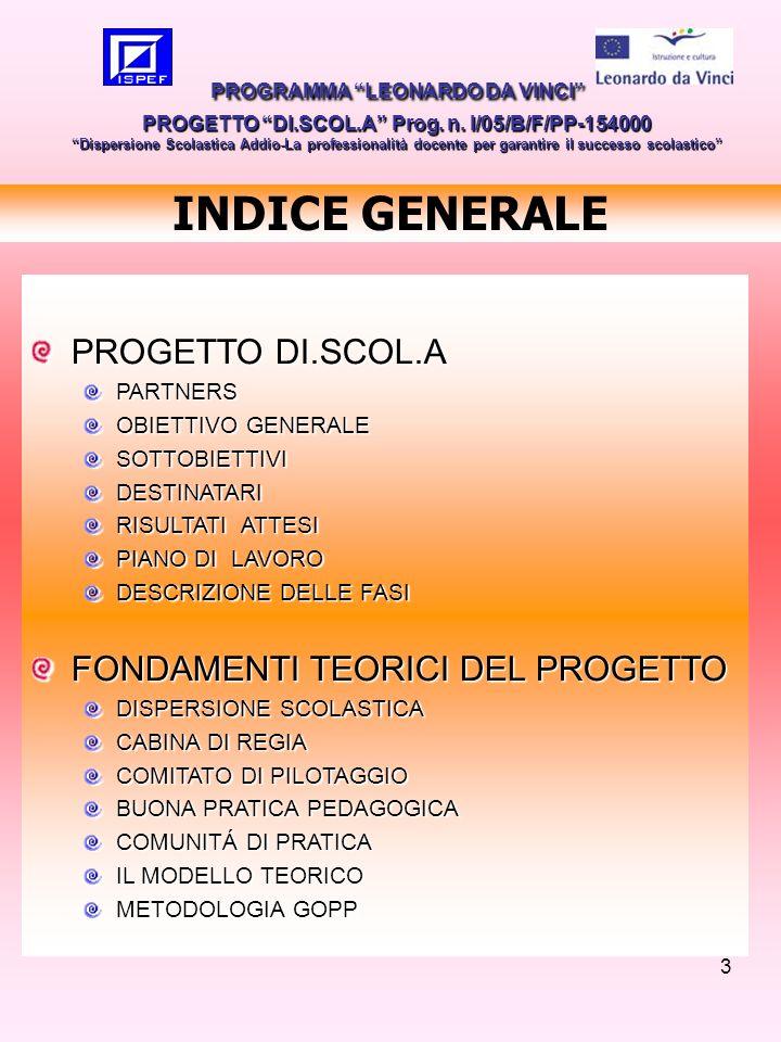 3 INDICE GENERALE PROGRAMMA LEONARDO DA VINCI PROGETTO DI.SCOL.A Prog. n. I/05/B/F/PP-154000 Dispersione Scolastica Addio-La professionalità docente p