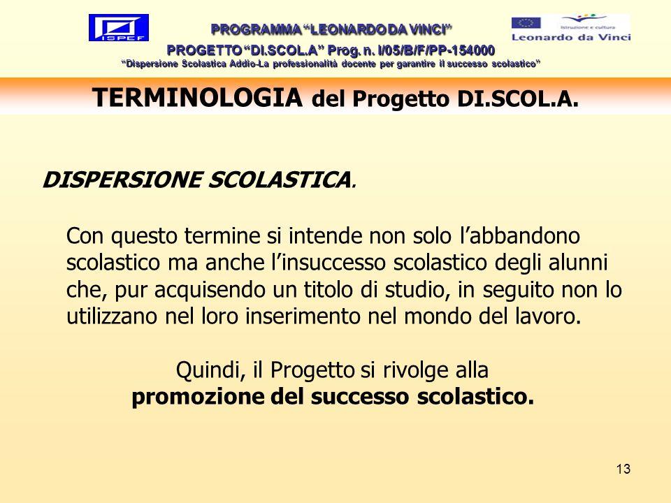 13 TERMINOLOGIA del Progetto DI.SCOL.A. PROGRAMMA LEONARDO DA VINCI PROGETTO DI.SCOL.A Prog. n. I/05/B/F/PP-154000 Dispersione Scolastica Addio-La pro