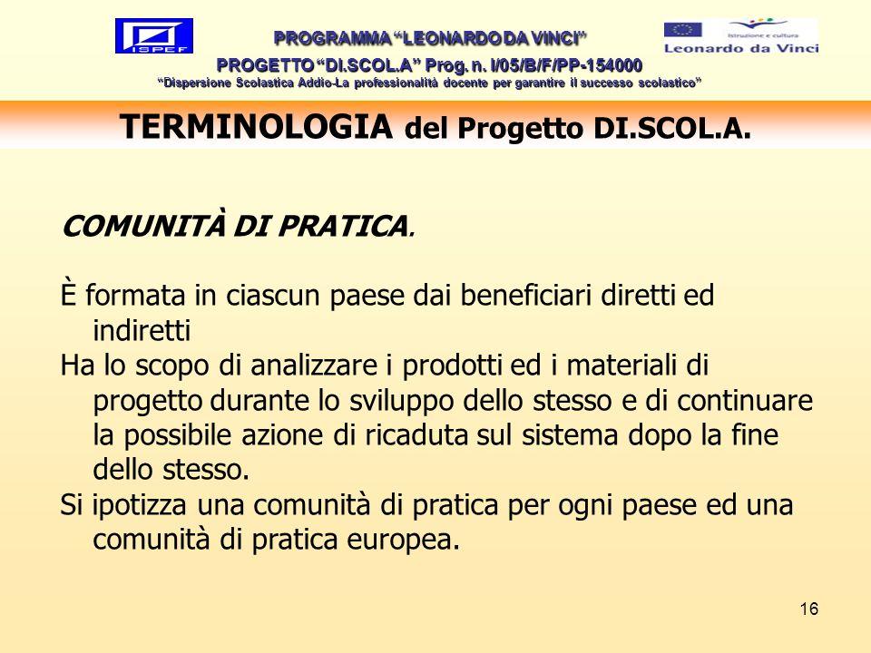 16 TERMINOLOGIA del Progetto DI.SCOL.A. PROGRAMMA LEONARDO DA VINCI PROGETTO DI.SCOL.A Prog. n. I/05/B/F/PP-154000 Dispersione Scolastica Addio-La pro