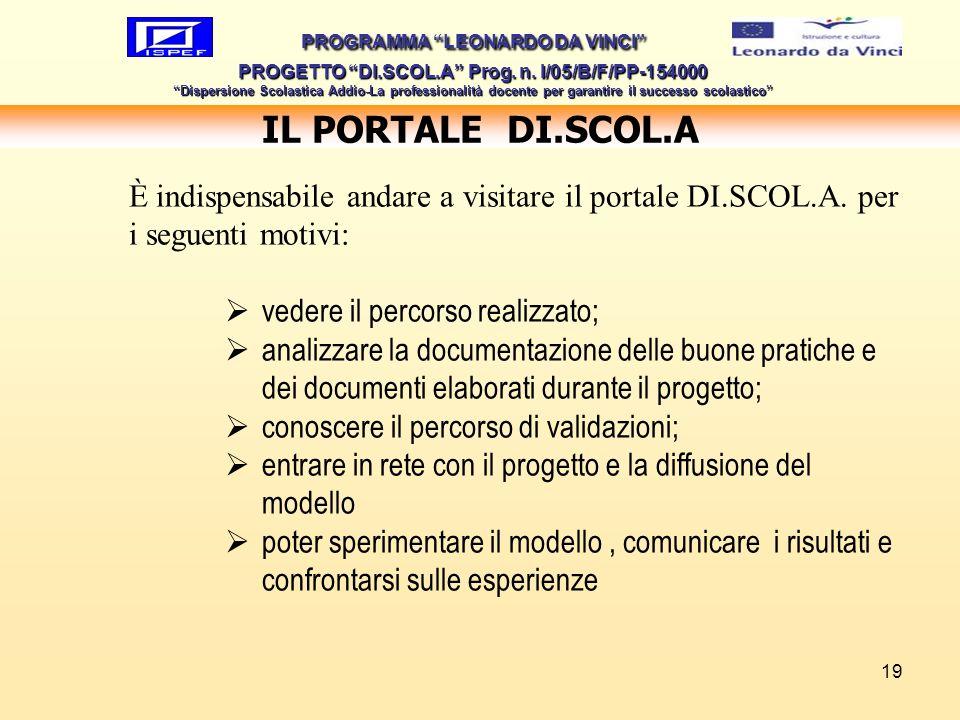 19 IL PORTALE DI.SCOL.A PROGRAMMA LEONARDO DA VINCI PROGETTO DI.SCOL.A Prog. n. I/05/B/F/PP-154000 Dispersione Scolastica Addio-La professionalità doc